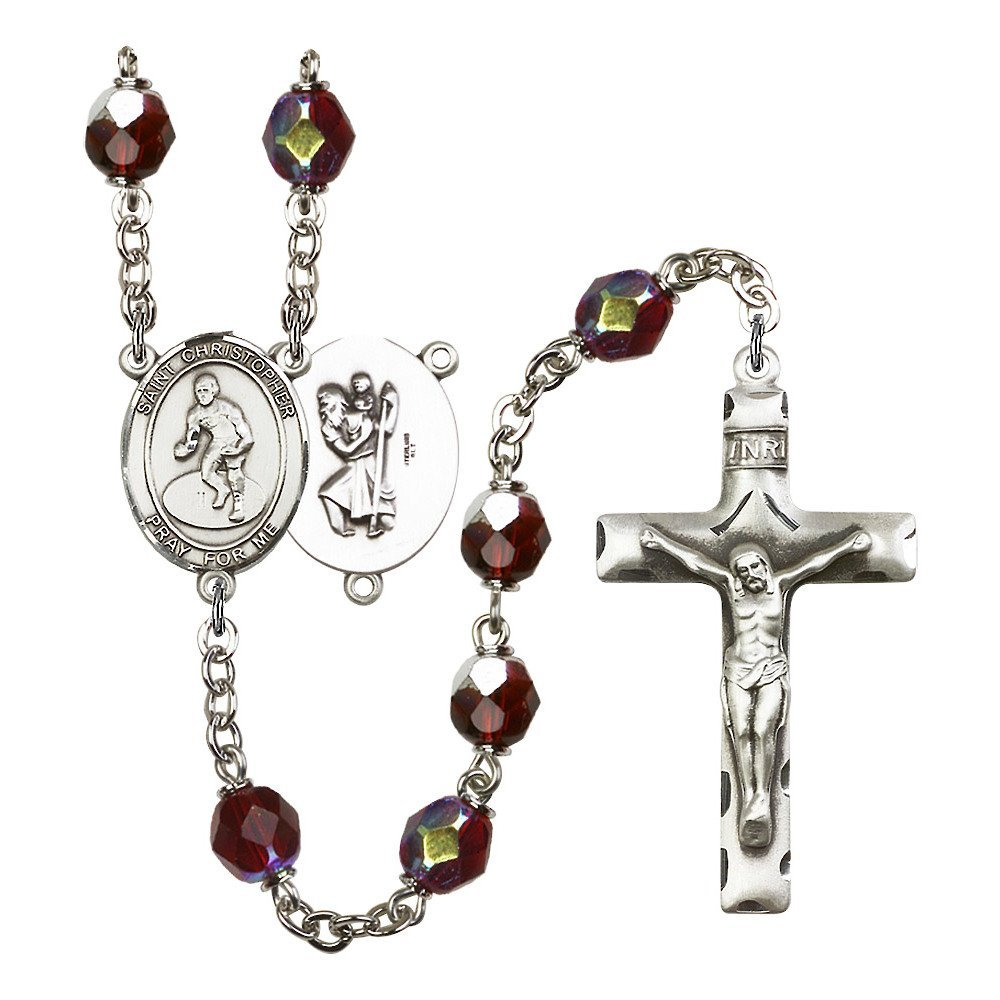 St. Christopher/Wrestling Silver-Plated Rosary 7mm January Red Lock Link Aurora Borealis Beads Crucifix Size 1 3/4 x 1 medal
