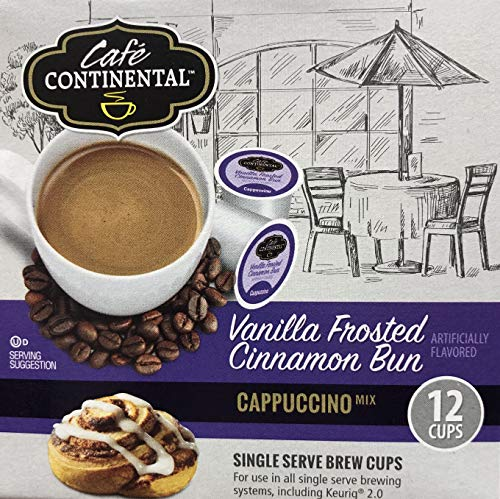 Cafe Continental Vanilla Frosted Cinnamon Bun Cappuccino Single serve Brew Cop Pods Keurig 2.0 (pack of 6 boxes) ()