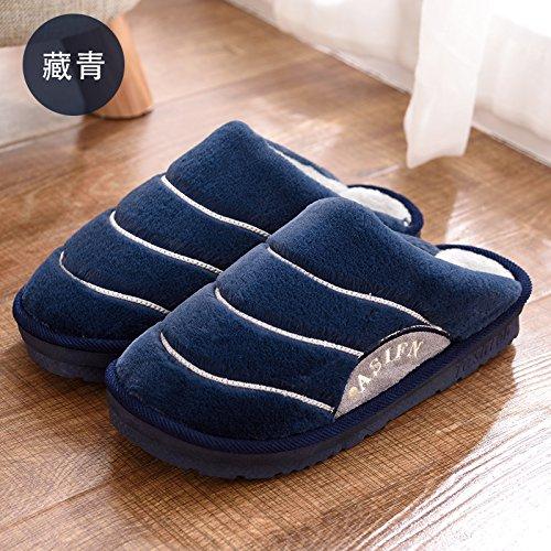 Cotone fankou pantofole pacchetto femmina con spessi inverno uomini e soggiorno a caldo indoor giovane inverno pantofole bella ,39-40, blu scuro