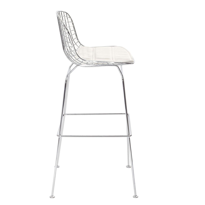 Bertoia chair white - Amazon Com Modway Bertoia Style Stool With White Seat Cushion Chairs