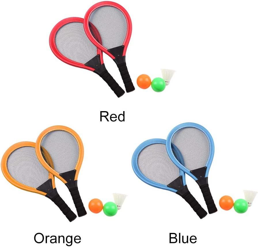 SUNERLORY Tennis Racket Toy Set 2 In 1 Beach Children Educational Outdoor Sports Safety Gift Non-toxic Garden Badminton Parent-child Game Kids Play Photo Prop