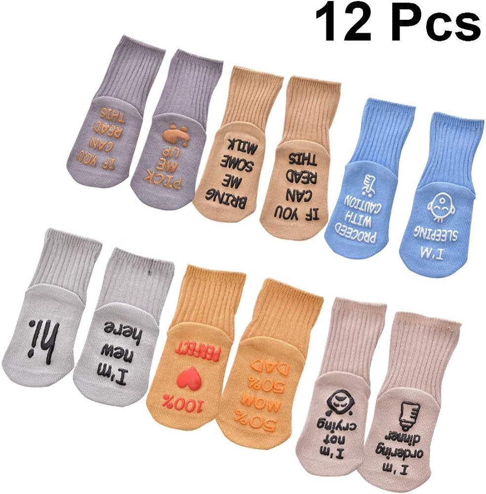 Toyvian calcetines antideslizantes para bebés calcetines antideslizantes de algodón calcetines de agarre para bebés y niños pequeños recién nacidos 6 pares: Amazon.es: Ropa y accesorios