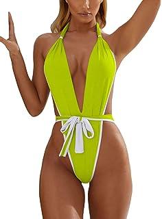 ffa2d9919f4 ALLureLove Swimsuits Bathing Suits Womens Sexy Monokini Deep V One Piece  Semi Thong Bikini Backless Cheeky