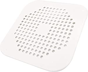 Square Drain Cover for Shower 5.7-inch TPR Drain Hair Catcher Flat Silicone Plug for Bathroom and Kitchen Grey/White Filter Shower Drain Protection Flat Strainer Stopper with Suction Cups (White)