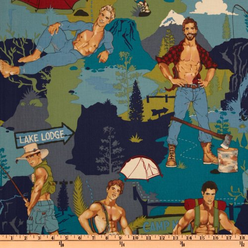 Alexander Fabric Henry (Alexander Henry Pin Ups The Outdoorsy Type Teal Fabric by The Yard)