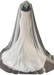 200cm blanc Cape en Tulle pour Robe de Mariage Cérémonie sans Manche Blanche  avec Dentelle a86fac3c1d5