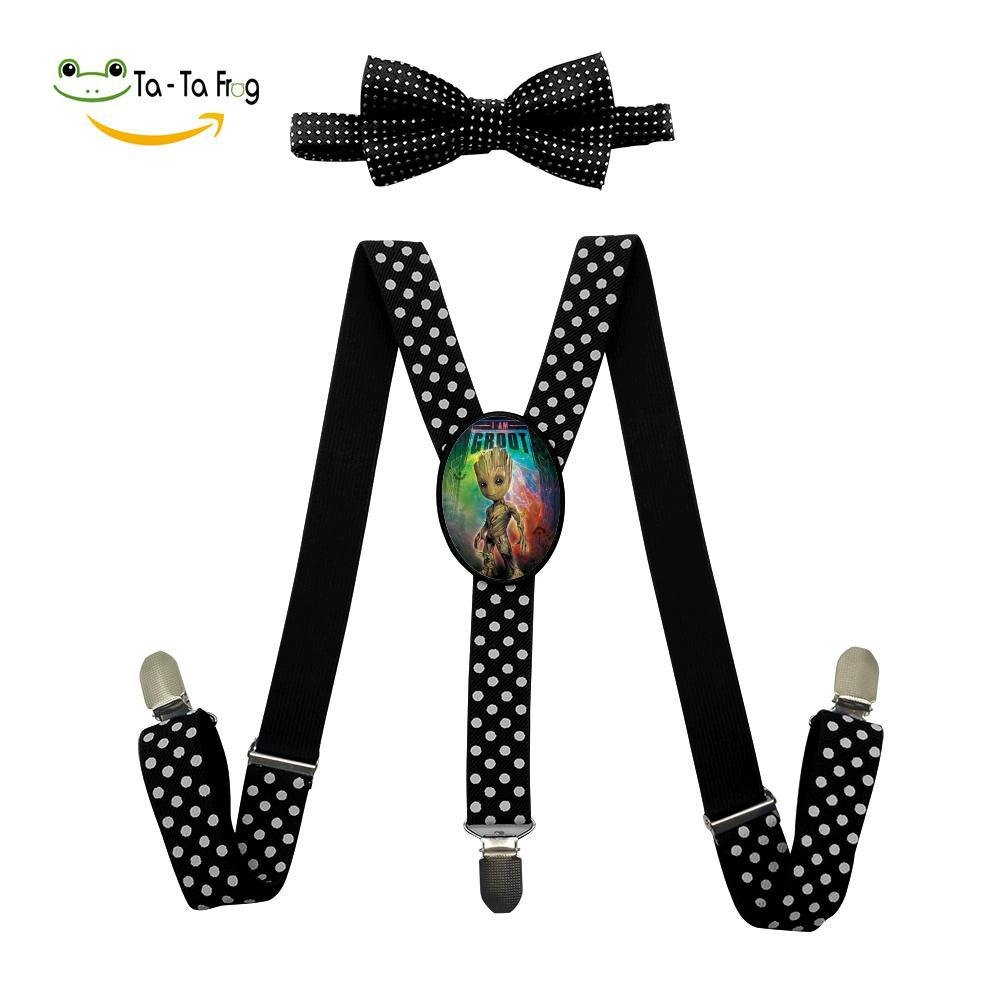 Baby G-Root Unisex Kids Adjustable Y-Back Suspenders With Bowtie Set