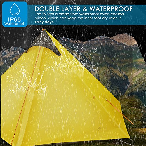 OLUNNA 1 Person Tent Backpacking, Lightweight Single Tent Waterproof with Double Layer Pyramid Tent for Mountaineering Hiking Camping with 1 Pack Inflatable Camping Pillow White Yellow