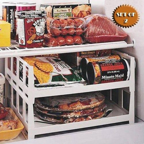 VERSATILE STACKABLE FREEZER AND FRIDGE SHELVES (SET OF 2) BY (Ice Tray Shelf)