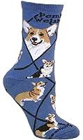 Pembroke Welsh Corgi Dog Blue Cotton Ladies Socks Adult Shoe 6-8.5 / Adult Sock 9 -11