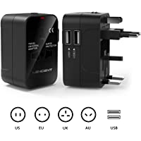Travel Adaptor, LENCENT Universal Power Adapter with UK/USA/EU/AUS Worldwide Travel Plug, 2 USB Charging Ports International Wall Adapter for Over 150 Conutries