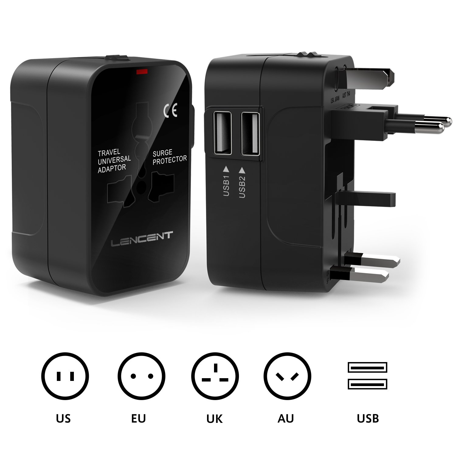 International Travel Adaptor, LENCENT All in One Universal Global Power Adapter with 2 USB Charging Ports Europe UK/USA/EU/AUS Worldwide Wall Plug Charger Converter for Laptops,Phones,Tablets and More