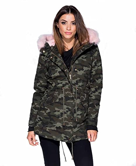 1a5ff09b57b4f GirlTalk Ladies Winter Pink Fur Trim Khaki Camouflage Parka Coat ...