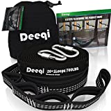 DEEQI Adjustable Tree Straps, 100% No Stretch Eco-friendly XL Hammock Straps for tree, 12 Feet, 40 Loops, 2000+ LBS Suspension System Kit for Camping, Hiking or Backyard - Set of 2 with 2 Carabiners