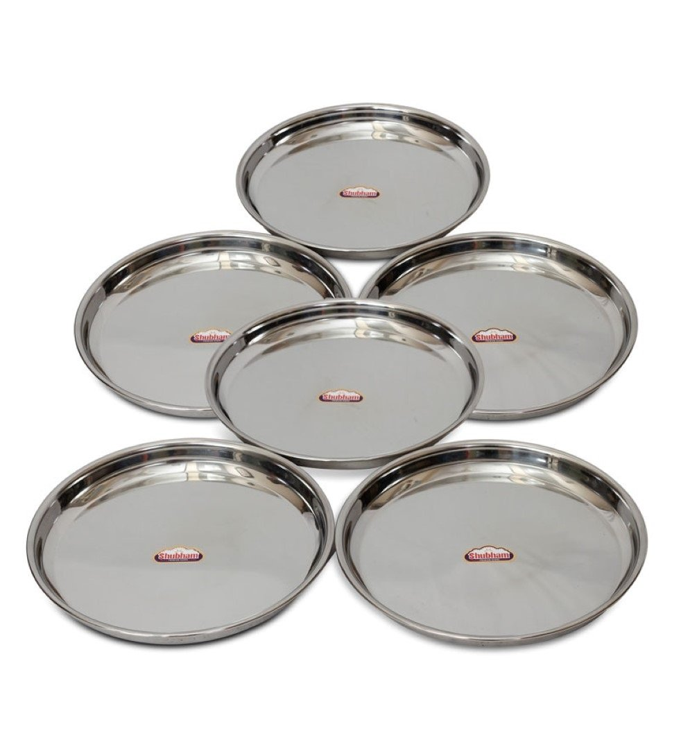 buy shubham steel dinner plates  thali   pcs set   inches  - buy shubham steel dinner plates  thali   pcs set   inches online atlow prices in india  amazonin