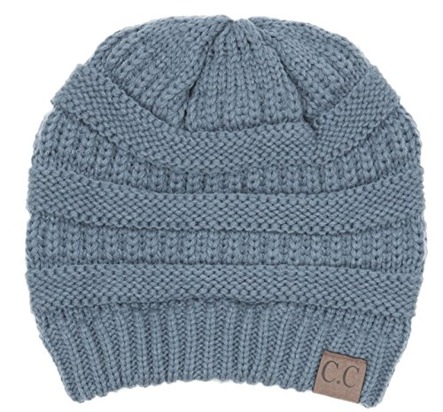 Hatsandscarf CC Exclusives Unisex Soft Stretch Solid Color Fuzzy Lined Beanie Hat (HAT-25) (Denim) (Solid Beanie Womens)