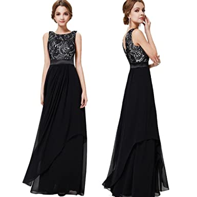 Bovake Womens Sexy Sleeveless Chiffon Lace Soild Formal Party Evening Daily Long Dress Ball Gown Prom