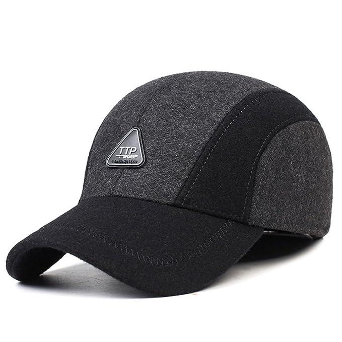 CS BEAUTY Men s Winter Warm Soft Lined Dad Wool Cap Adjustable Baseball Hats  ... 22e75da4f2a7