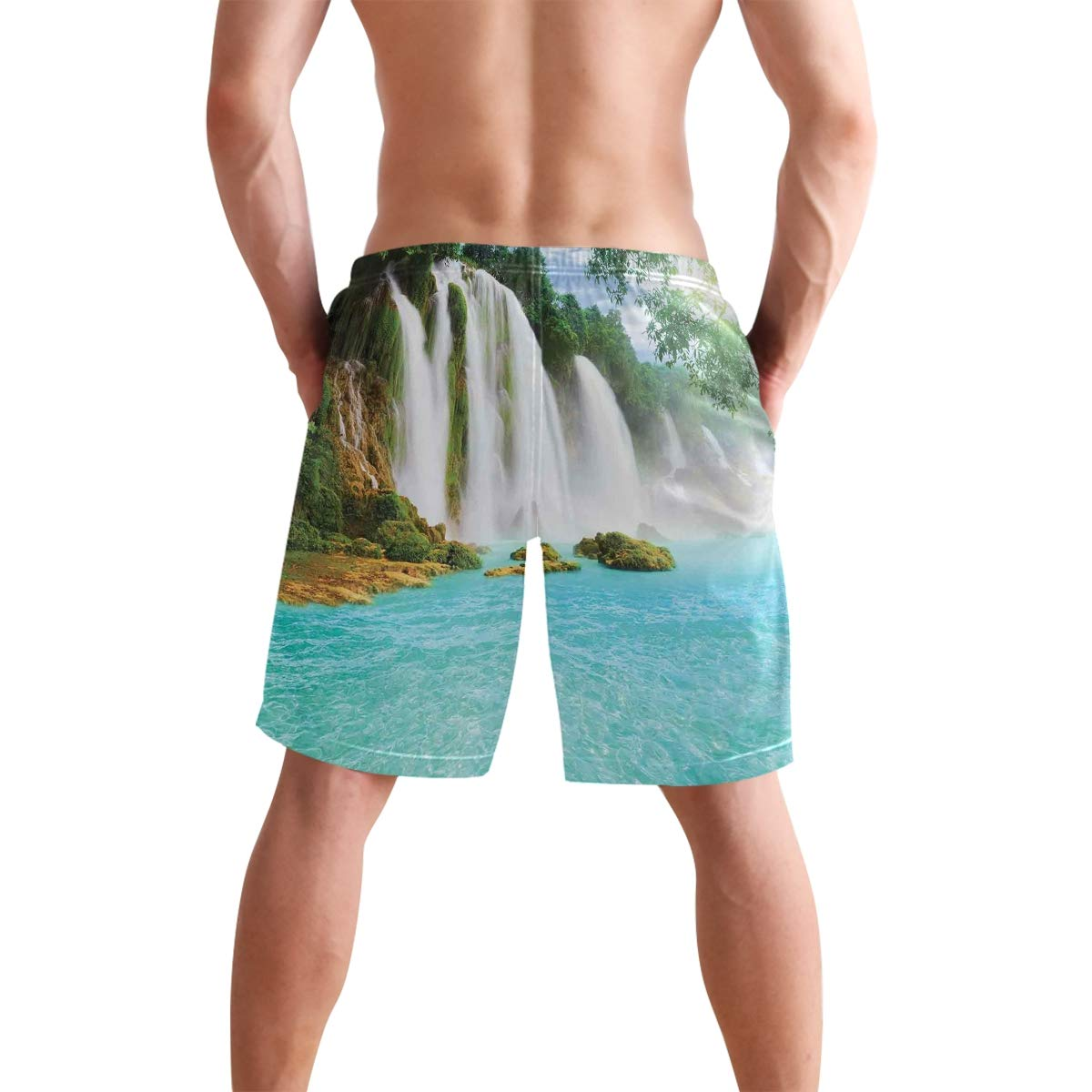 COVASA Mens Summer ShortsBamboo with Artistic Floral Curly Leaves Asian Feng S