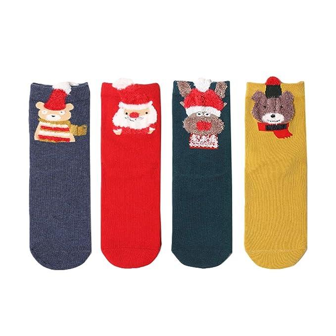 Mxssi 4pair calcetines de estilo de Navidad mujer chica calcetines de algodón ocasionales señoras de dibujos animados chicas lindas calcetines calientes de ...