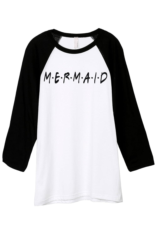 Mermaid Friends Unisex 3//4 Sleeves Baseball Raglan T-Shirt Tee White Black