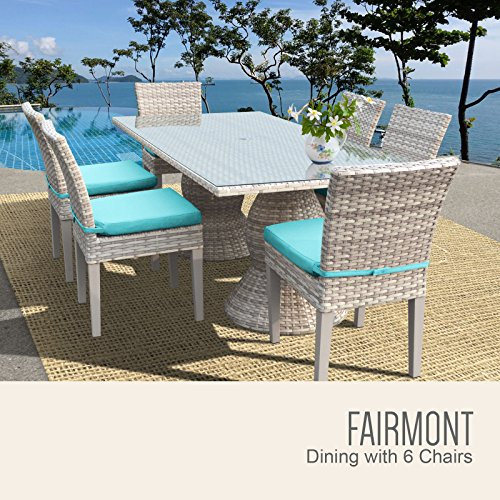 TK Classics FAIRMONT-RECTANGLE-KIT-6C-ARUBA Fairmont Rectangular Outdoor Patio Dining Table with 6 Armless Chairs with 2 Covers: Beige and (Fairmont Dining Set)