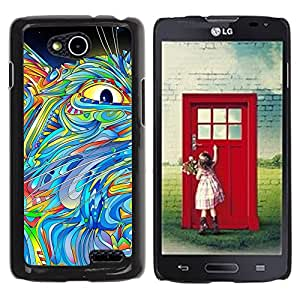 Vortex Accessory Hard Protective Case Skin Cover For Lg Optimus L90 / D415 - Eye Abstract Painting Cat Colorful Blue