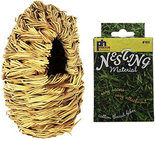 Prevue Pet Products Natural Fiber Parakeet Covered Twig Nest, Large, Plus a Box of Cotton Thread Fibers Bird Nesting - Nesting Material Box