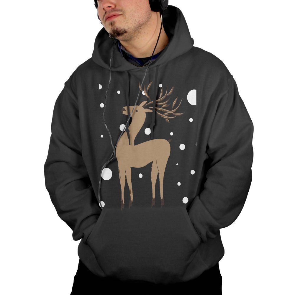 Hehe Tan S Pocket S Funny Cartoon Snow Deer Casual Pullover Workout Hooded
