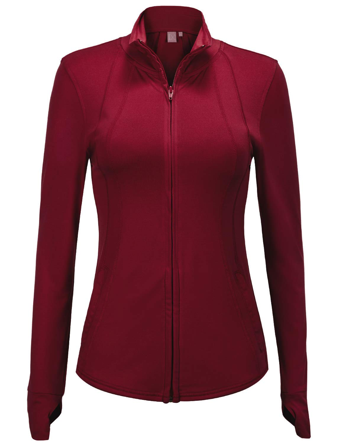 Regna X Women's Full Zip Up Cotton Spandex Athletic Track Jacket Wine S