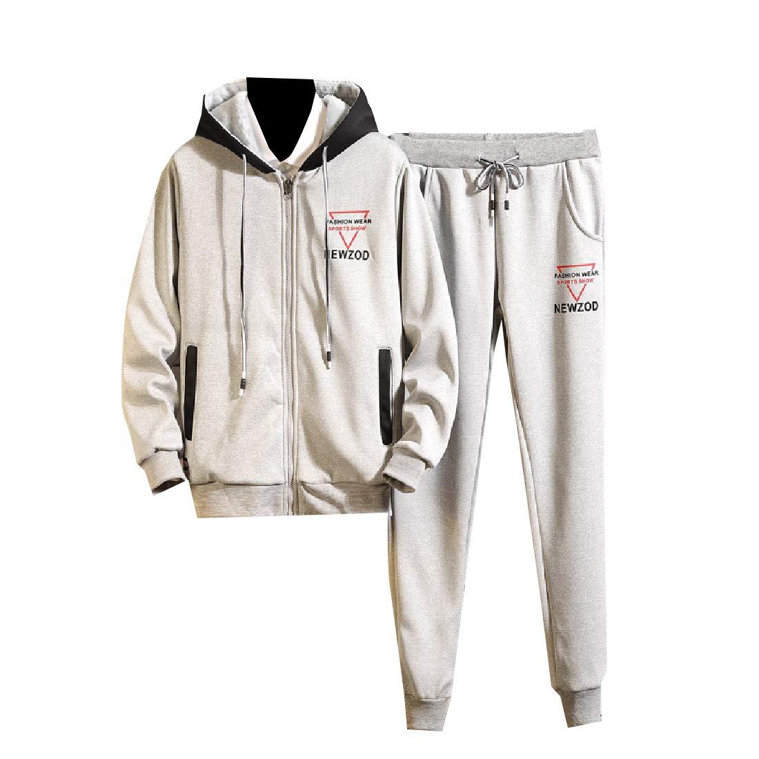 Winwinus Mens Hoodie Active Fleece Casual 2-Piece Slim Fit Tracksuit Outfit