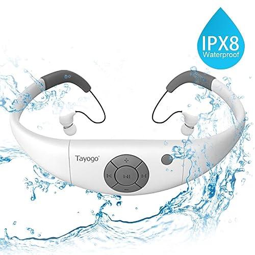 Tayogo Reproductor mp3 Acuatico con Auriculares Natacion IPX8 8GB Disco U Extraíble para Deporte Natación con Modo Aleatorio