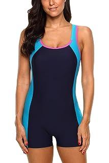 fd245d6420 CharmLeaks Women Boyleg One Piece Swimsuit Sport Swimming Costume Modest  Swimwear