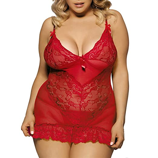 dde09e75c95 Mini Bodysuit Women Sexy Lingerie Deep V Neck See Through Lace Babydoll  Christmas Party Plus Size