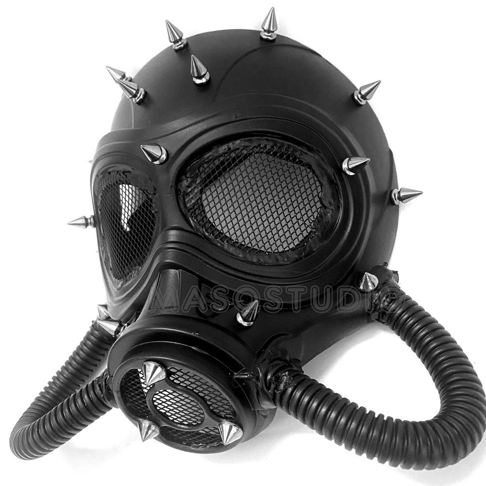 MASQSTUDIO Halloween Costume Cosplay Steampunk Dress up Party Masquerade Gas Mask (Black)