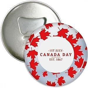 Canada Day 4th Of July EST 1867 Maple Leaf Bottle Opener Fridge Magnet Emblem Multifunction Badge