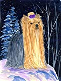 Caroline's Treasures SS8365CHF Starry Night Yorkie Flag Canvas, Large, Multicolor