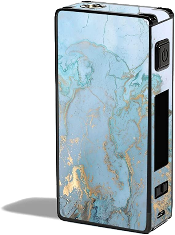 Teal Blue Gold White Marble Granite Skin Decal for Google Home