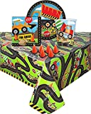 Construction Themed Birthday Party supplies - Serves 16 guest, One plastic tablecloth 16 desert plates, 16 Napkins, 16 cups, and 6 cone shape candles.
