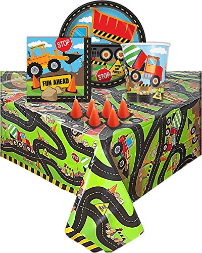 Construction Themed Birthday Party Supplies - Serves 16 Guest, One Plastic Tablecloth 16 Desert Plates, 16 Napkins, 16 Cups, and 6 Cone Shape Candles. -