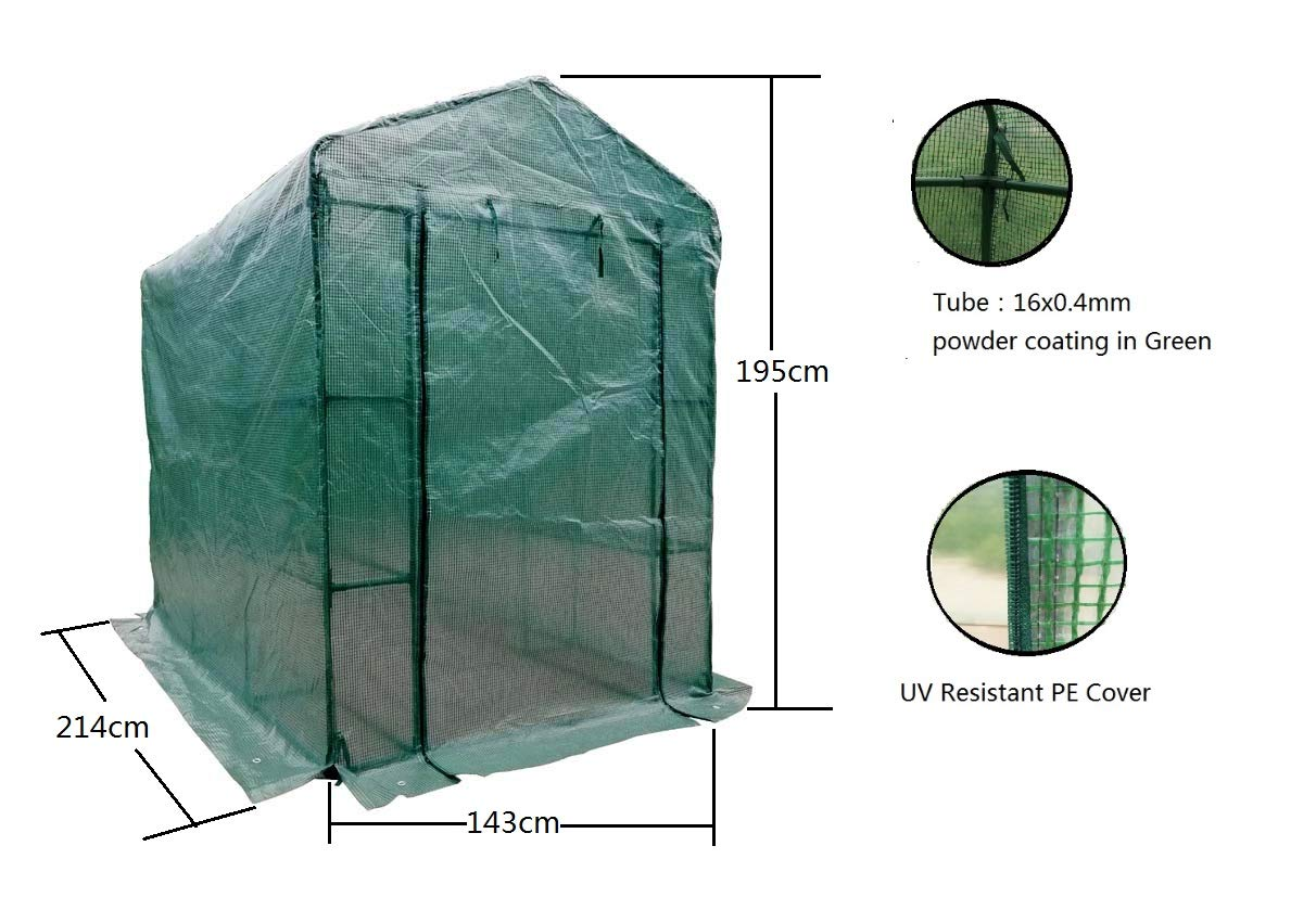 MTB Outdoor Portable Walk-in Garden The Greenhouse 2 Tiers 12 Shelves with UV Resistant PE Cover - 84'' Lx56 Wx77 H