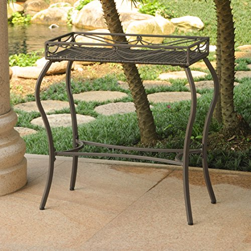 Valencia Resin - International Caravan Valencia Resin Wicker/Steel Rectangular Plant Table