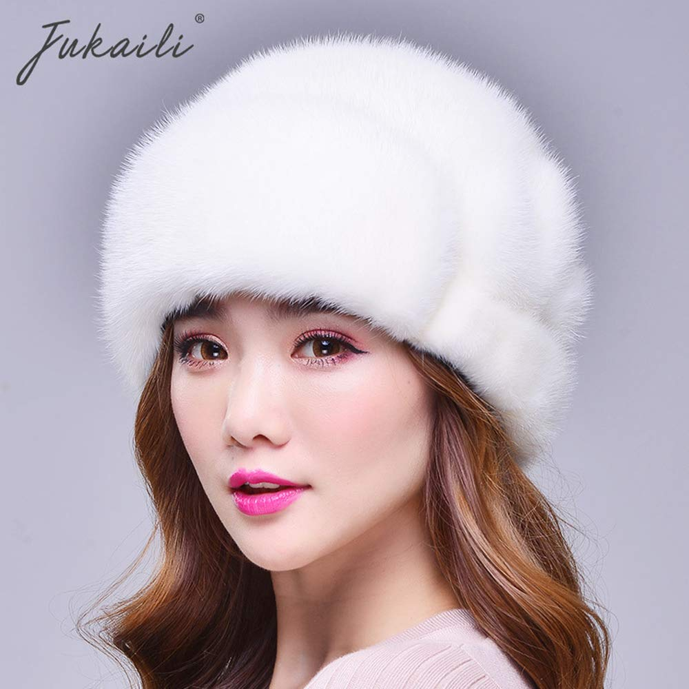 SUNLMG Womens Winter Hat Knitted Mink Fur Hats/Ear Protection/Travel Warm/Beret/Elegant for Travel/Gift/Ski/Holiday,White,M