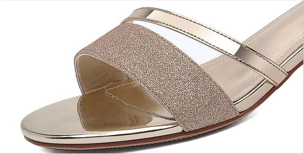Sandalen Sandalen Sandalen Frau dick mit Sommer Schuhe wilde koreanische High Heel Sandaletten Flache Sandalen,Mode Sandalen (Farbe : A, größe : 34) A a13868
