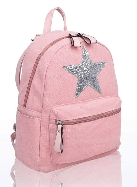 Craze London New Designer Womens//Girls Canvas Star Backpack Designed Fashion Rucksack Travel Bag
