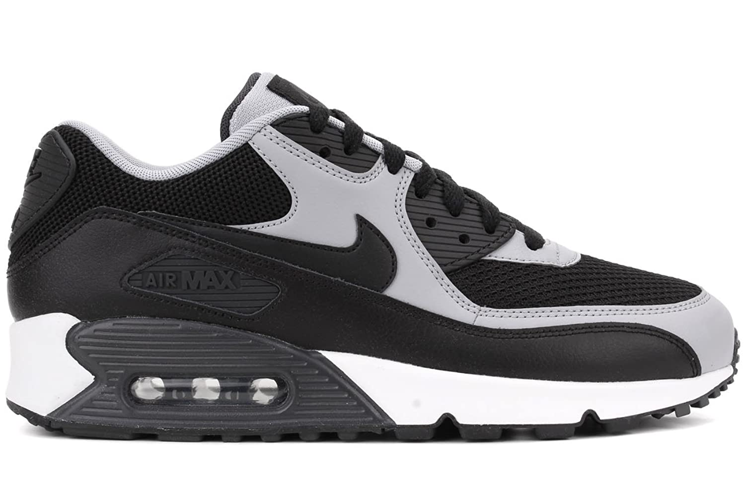 buy popular e11bf 864c0 good Nike Men s Air Max 90 Essential Black Grey Leather Running Shoes 7.