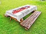 Ambesonne Educational Outdoor Tablecloth, Medical Structure of the Hearts Human Body Anatomy Organ Veins Cardiology, Decorative Washable Picnic Table Cloth, 58 X 120 Inches, Coral Red Blue