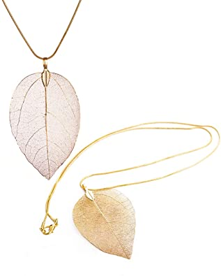 Set of 2 Long Leaf Pendant Necklaces Real Natural Filigree Fashion Jewelry for Women