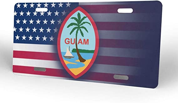 NUOYAN USA United States Flag American Emblem Wave Ii License Plate Metal Aluminum Vanity Auto Car Tag for Decoration 6x12 Inchs