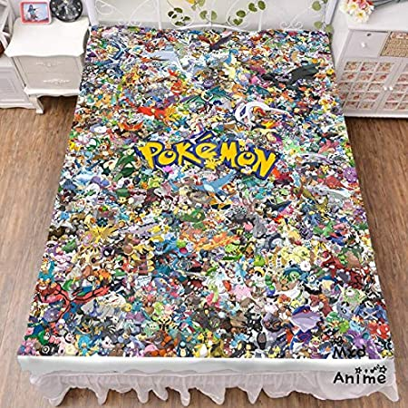 MXDFAFA Japanese Anime Pokemon Bed Sheet Throw Blanket Bedding Coverlet Cosplay Gifts Flat Sheet
